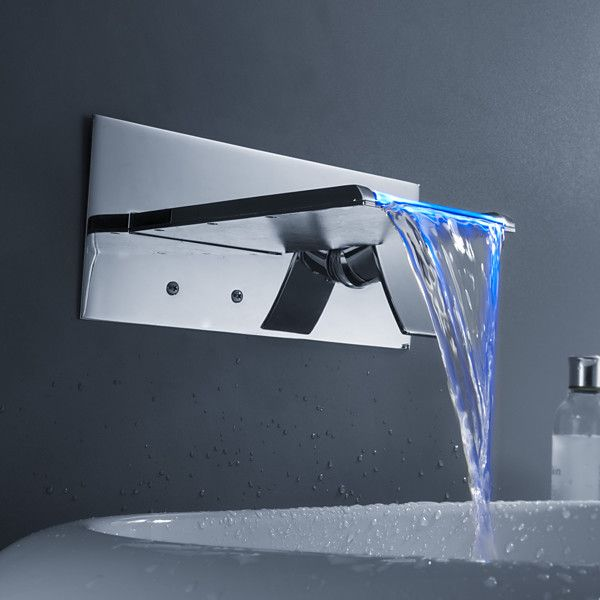 Color Changing LED Waterfall Bathroom Sink Faucet (Wall Mount) At ...
