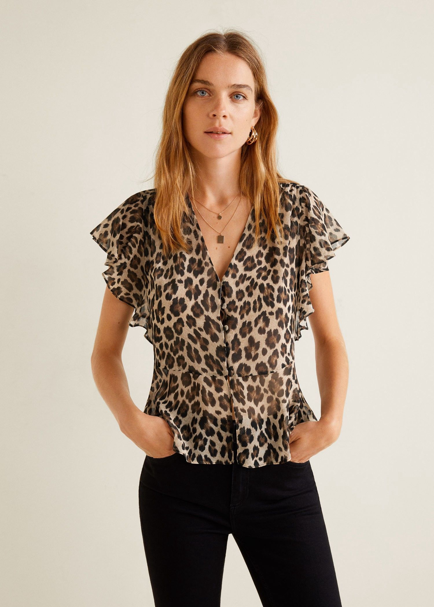 0dad102cc0d5cf Mango Ruffled Leopard Blouse - 6 in 2019 | Products | Leopard blouse ...