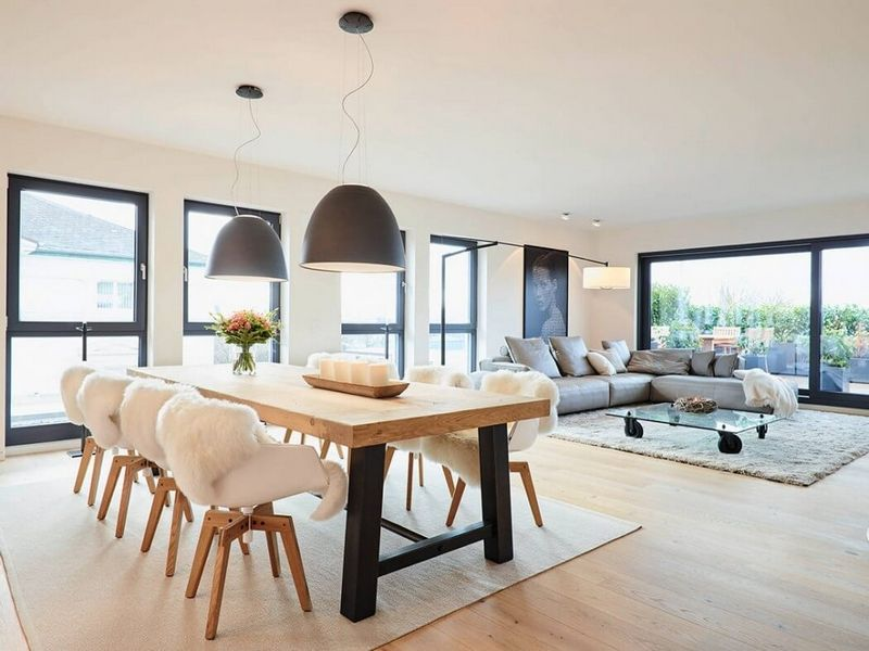 Meubles blanc et bois et salle de bain béton ciré- penthouse de luxe ...