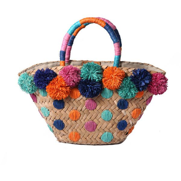 Mini Chiquita Basket Bag With Pom Poms 215 Liked On Polyvore Featuring