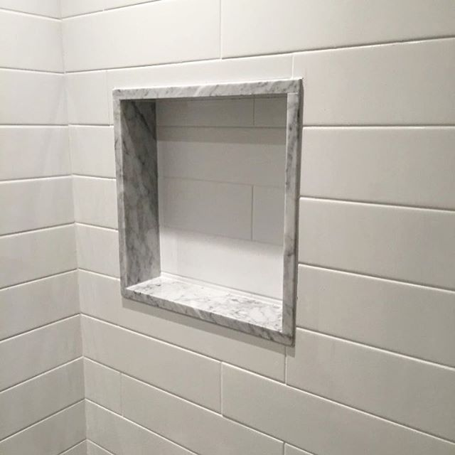 Shower Niche Like This But With A Subway Tile Back Matching Rest Of Shower Marble Si Master Bathroom Shower Shower Remodel Bathroom Remodel Shower