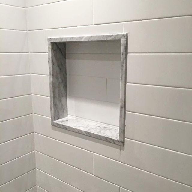 Carrara Marble, Subway Tile, Marble Framing On Shampoo