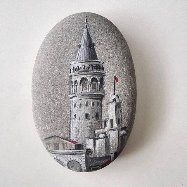 Galata Kulesi Tas Boyama By Salim Besirli Cizimler Sanat Cizim Fikirleri
