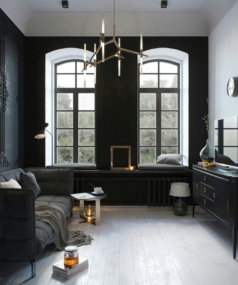 Russian Designer Tatiana Shishkina's 24×24m loft apartment - black neoclassical walls mixed with copper, glass, iron, oak and various shades of greys