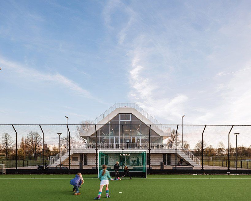 this sports center by NL architects features a pitched