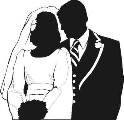 Image detail for -wedding couple partial silhouette - public domain clip art image ...