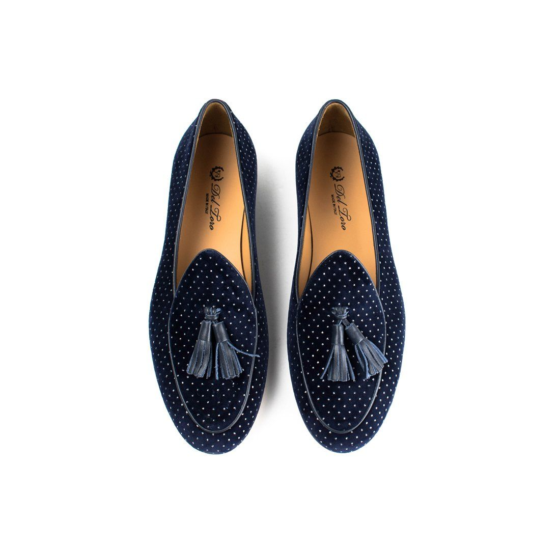 f10ff9272 Navy Velvet Italian Loafer with Silver Polka Dots | Shoes | Italian ...