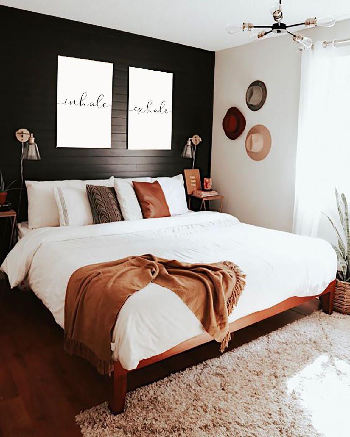 Inhale Exhale Print Home Decor Scandinavian Prints Zen Home Bedroom Decor Meditation Poster Decor Modern Hom In 2020 Minimalist Bedroom Modern Bedroom Bedroom Makeover