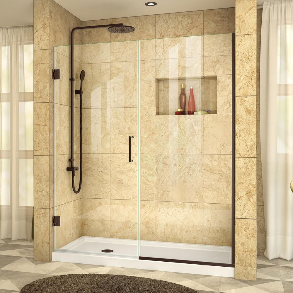 Dreamline Unidoor Plus 49 1 2 To 50 In X 72 In Semi Framed Hinged Shower Door With Hardware In O Black Shower Doors Shower Doors Frameless Hinged Shower Door