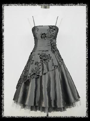 dress190 GREY 40/50s FLOCK TATTOO ROCKABILLY COCKTAIL PARTY PROM ...