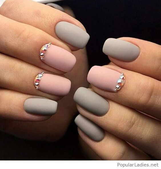 Matte grey and pink gel nails with details | Pink gel nails, Pink ...