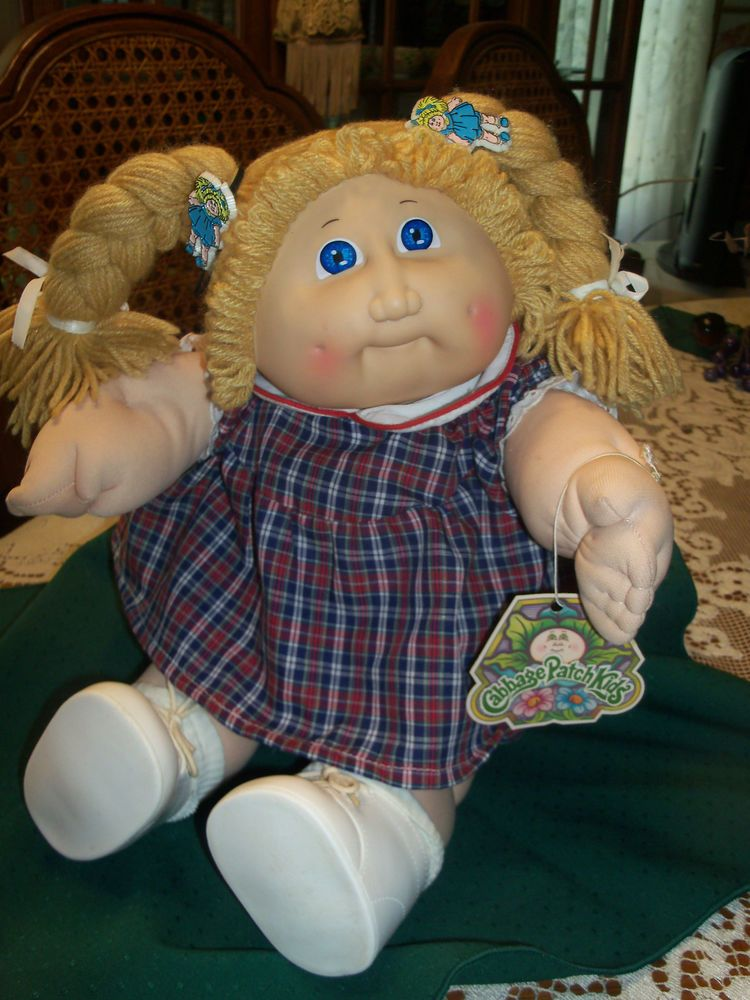 Vtg 16 Cabbage Patch Doll 1978 1982 Blonde Hair Original Plaid Dress Diaper Cabbage Patch Dolls Cabbage Patch Babies Cabbage Patch