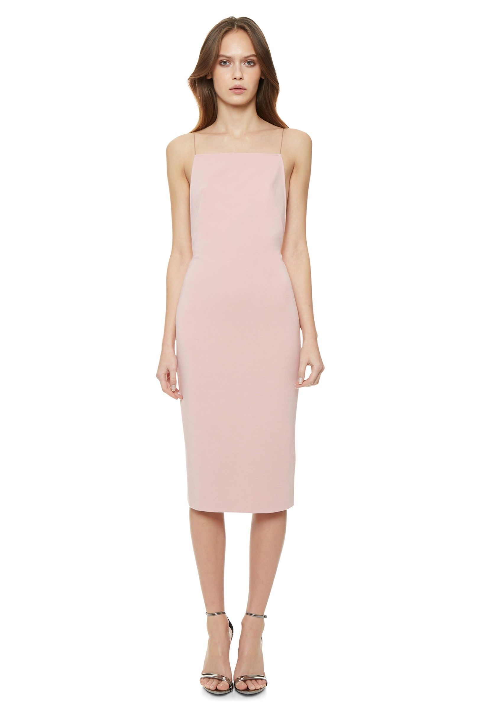 4dc04be79dd0 Image 3 of Cartney Backless Midi Dress with Shoestring Straps · Pale Pink ·  AQ AQ