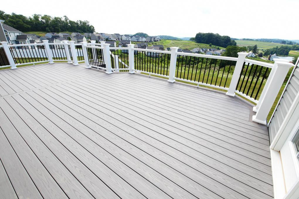 Home White Deck Railings With Black Balusters Island Oak And Dark Hickory Deck Boards Azek Decking Azek Buildi Building A Deck Outdoor Living Deck Diy Deck