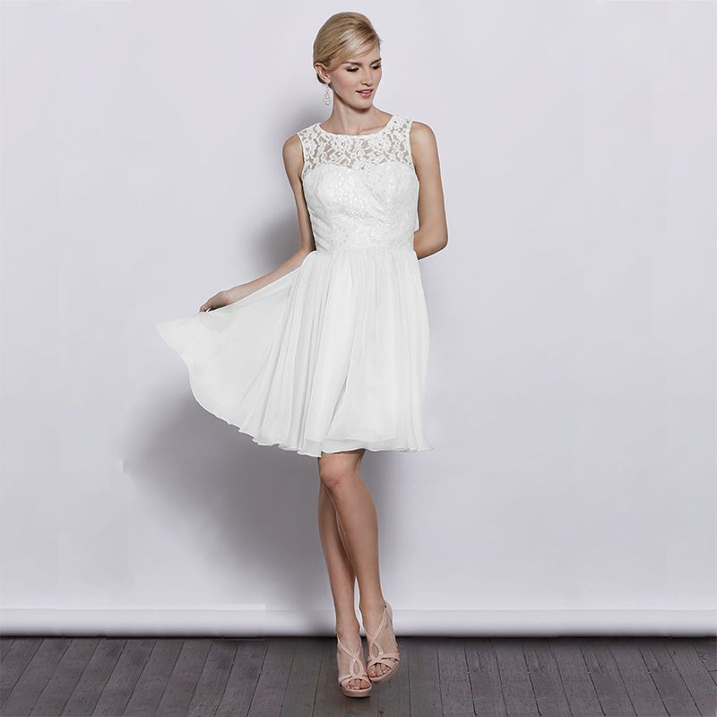 Lace top with chiffon a-line skirt elegant bridesmaid dress Read ...