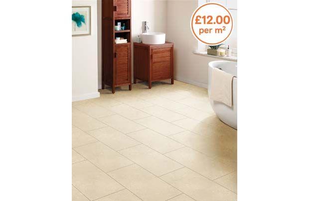 Homebase Ceramic Effect Laminate Flooring For Bathroom Or Kitchen