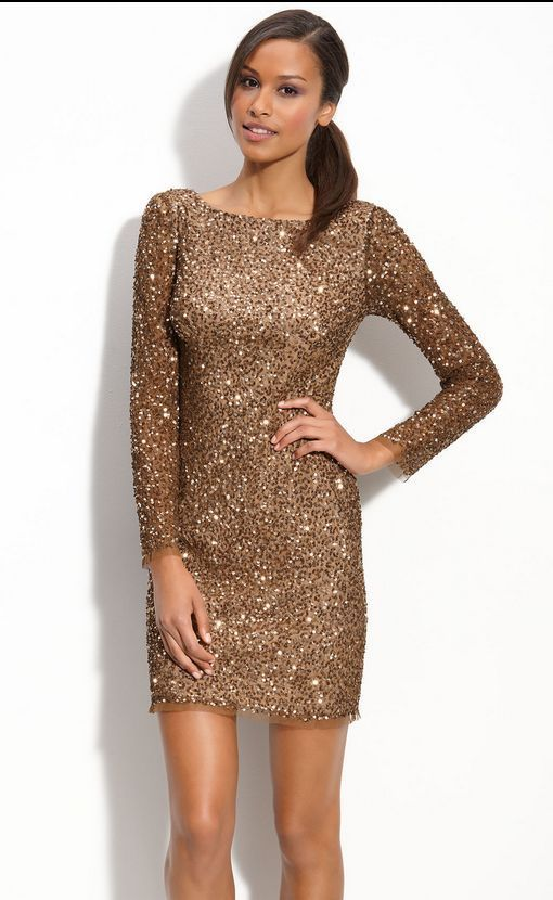 1ac0f746fb567c Adrianna Papell Brown Sequin Shift Dress Long Sleeve Fully Beaded Gold  Embelish in Clothing