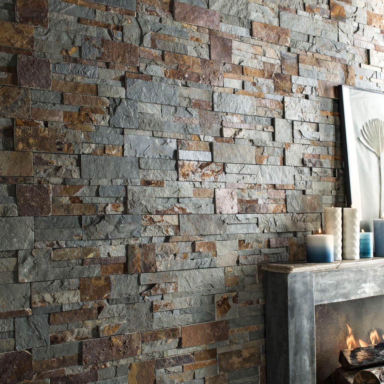 Revetement Mur Exterieur Pierre plaquette de parement pierre naturelle multicolore elegance