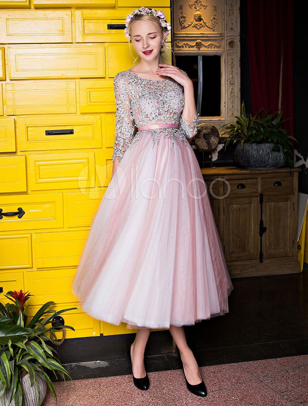 11637561837 Cameo Pink Prom Dresses Short Beading Tulle Half Sleeve Tea Length  Homecoming Dress - Milanoo.com
