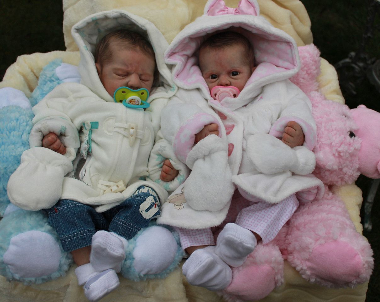 Beautiful Reborn Baby Twin Dolls Boy And Girl Sculpted By