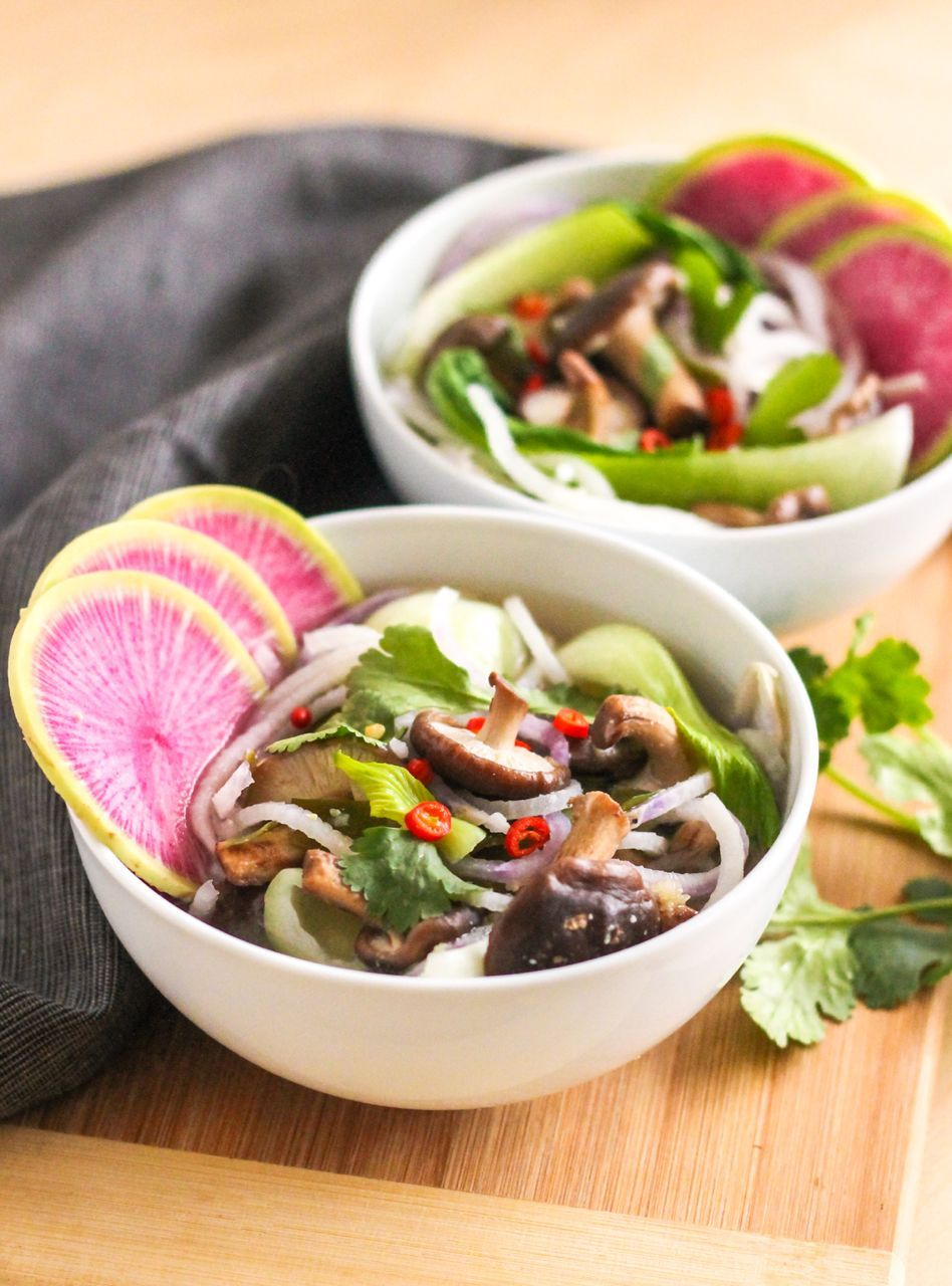 Spiralized Miso Soup - Made with daikon radish, bok choy, and shiitake mushrooms, this vegan Asian-inspired soup is a colourful way to brighten up your diet!