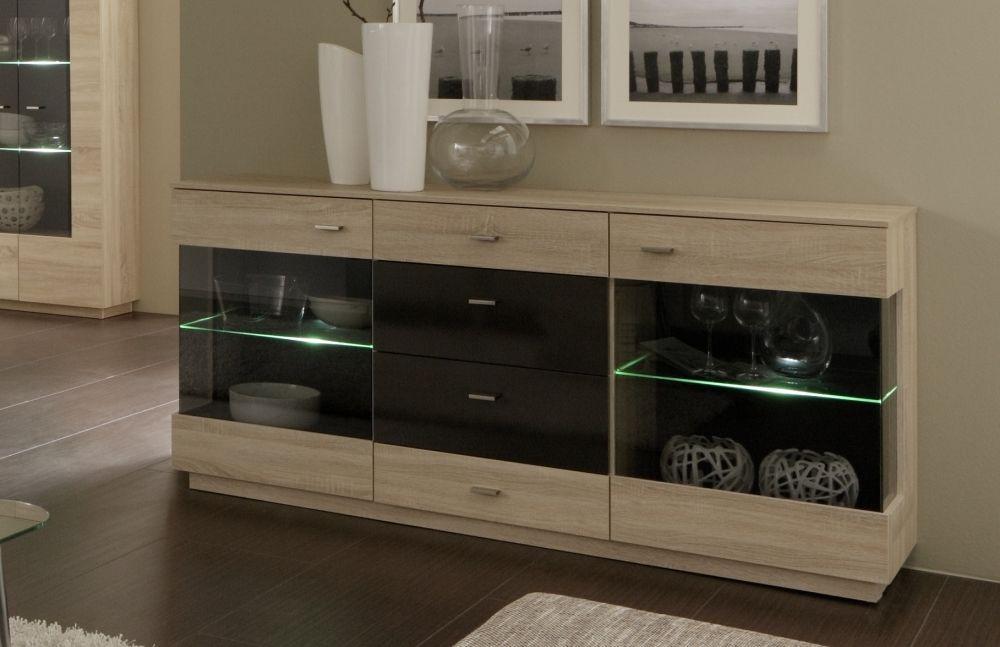 jimmy sideboard kommode mit glaseinsatz eiche s gerau hell terra hochglanz pinterest. Black Bedroom Furniture Sets. Home Design Ideas