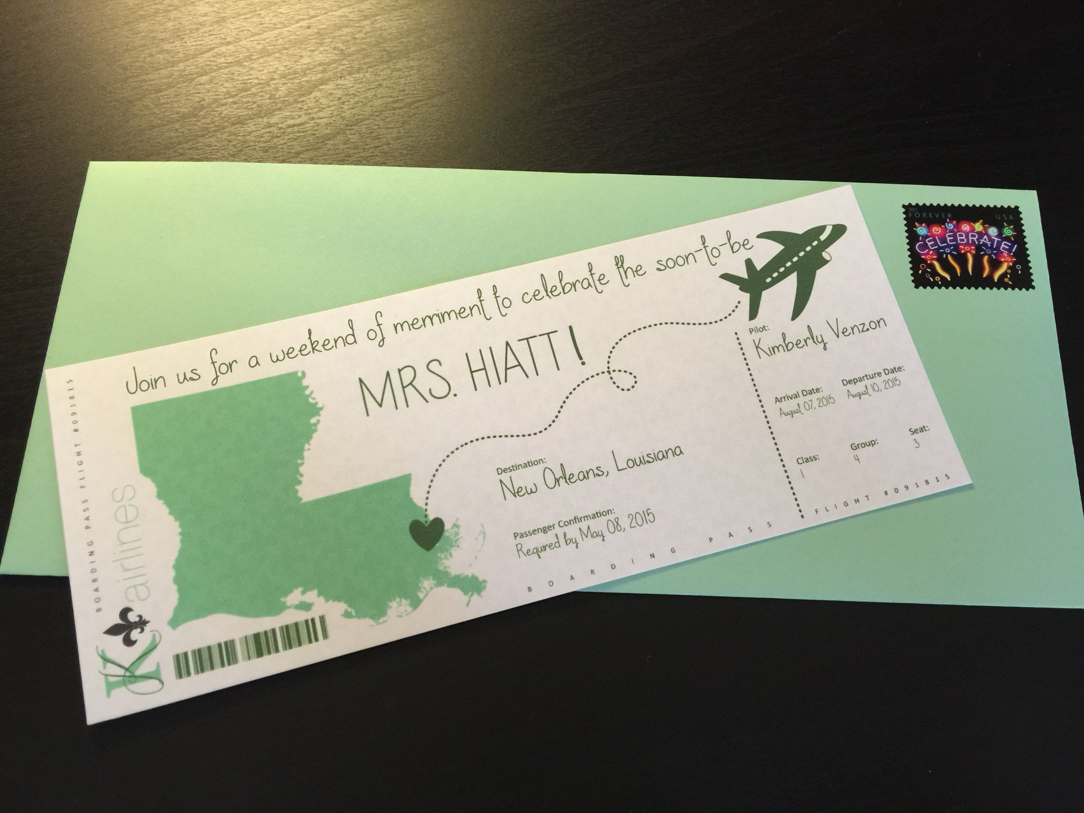 New Orleans bachelorette party boarding pass invites created from ...