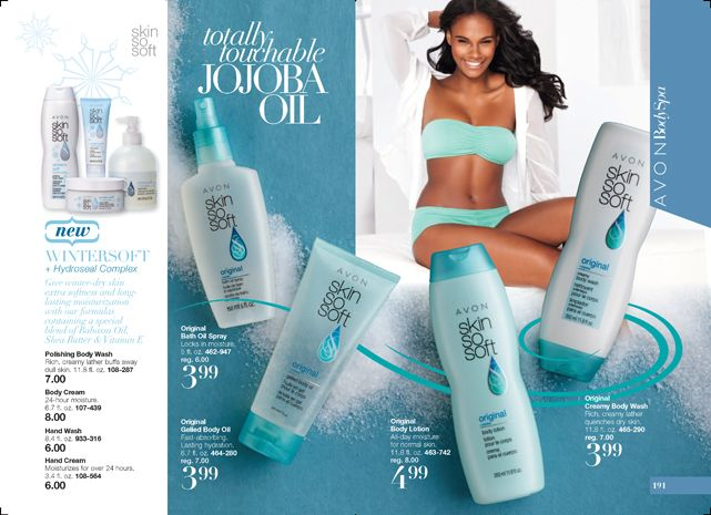AVON CAMPAIGN 25 ~ Shop now @ http://krislingsch.avonrepresentative.com Skin so Soft totally touchable Jojoba Oil Original and Skin So Soft WINTERSOFT + Hydroseal Complex shop www.youravon.com/jproveaux