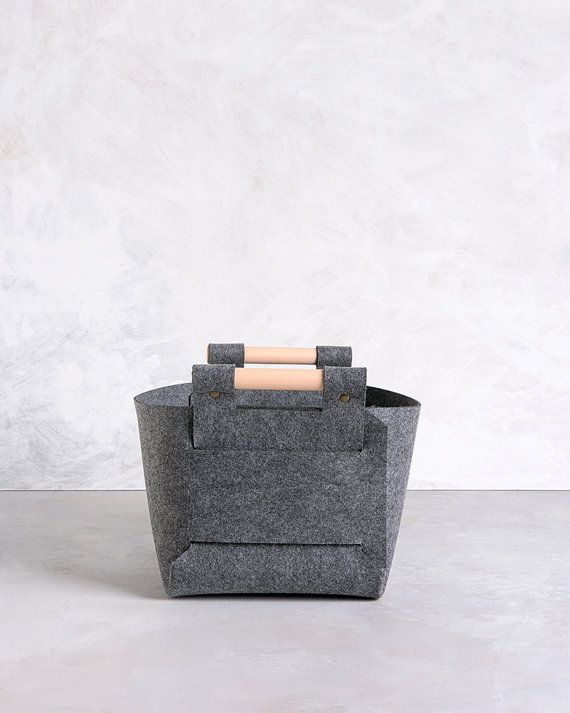 Large Storage Basket   Grey Storage Bin   Felt Storage Box   Nursery Storage    LB 02