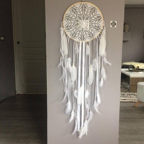 dream catcher dreamcatcher giant lace feathers and wood. Black Bedroom Furniture Sets. Home Design Ideas