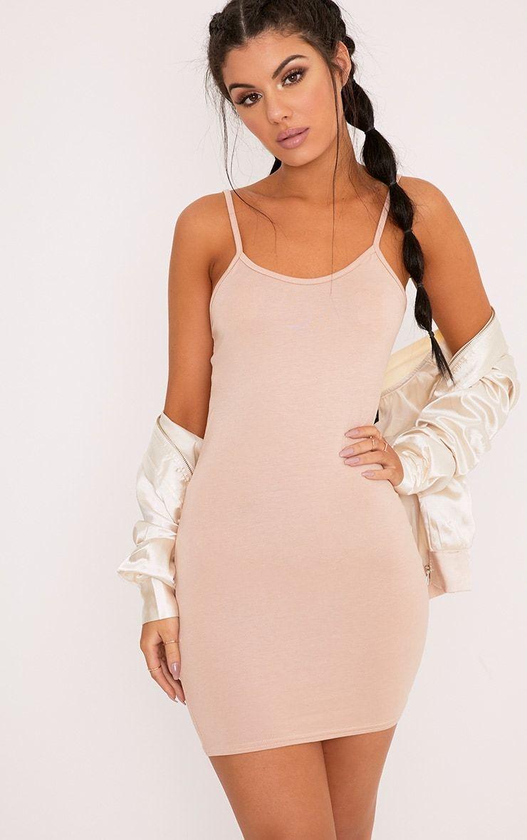 9ae4df2268 Basic Nude Strappy Bodycon Dress