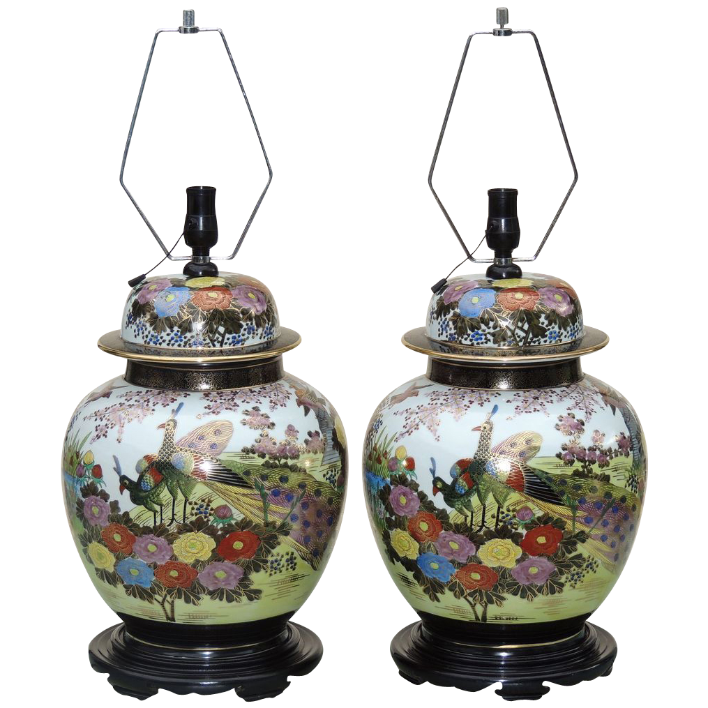 Large Pair Ginger Jar Lamps Anese Mid Century