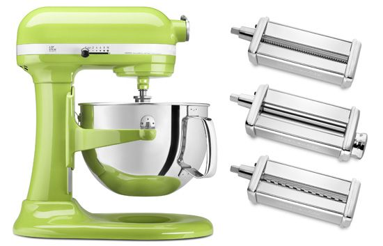 kitchenaid stand mixer and pasta set in apple green kitchen