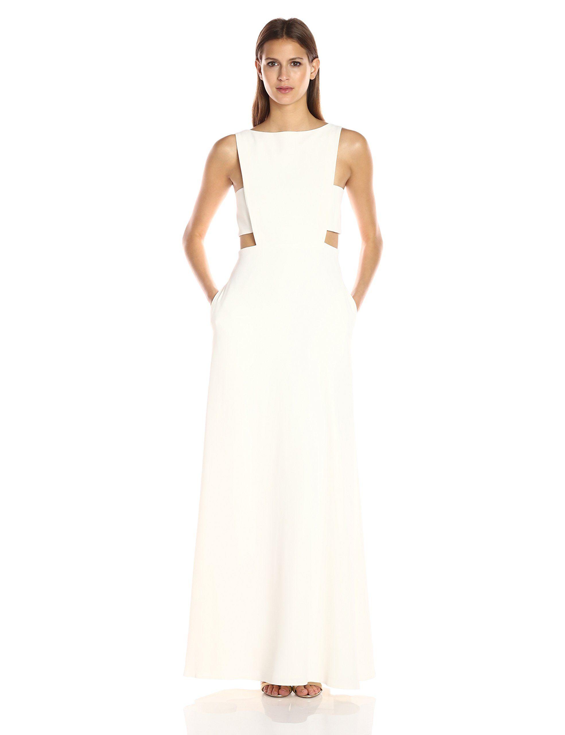 Jill Jill Stuart Women\'s High Neck Side Cut Out Gown, Off/White, 14 ...
