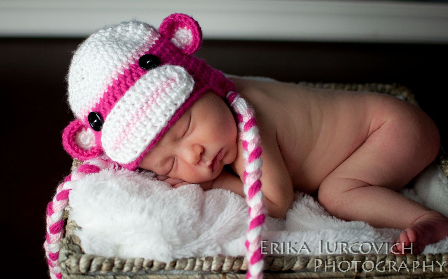 Baby girl sock monkey hat pink baby hat newborn photo prop