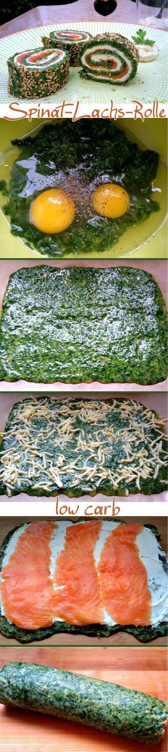 rotolo di salmone agli spinaci a basso contenuto di carboidrati