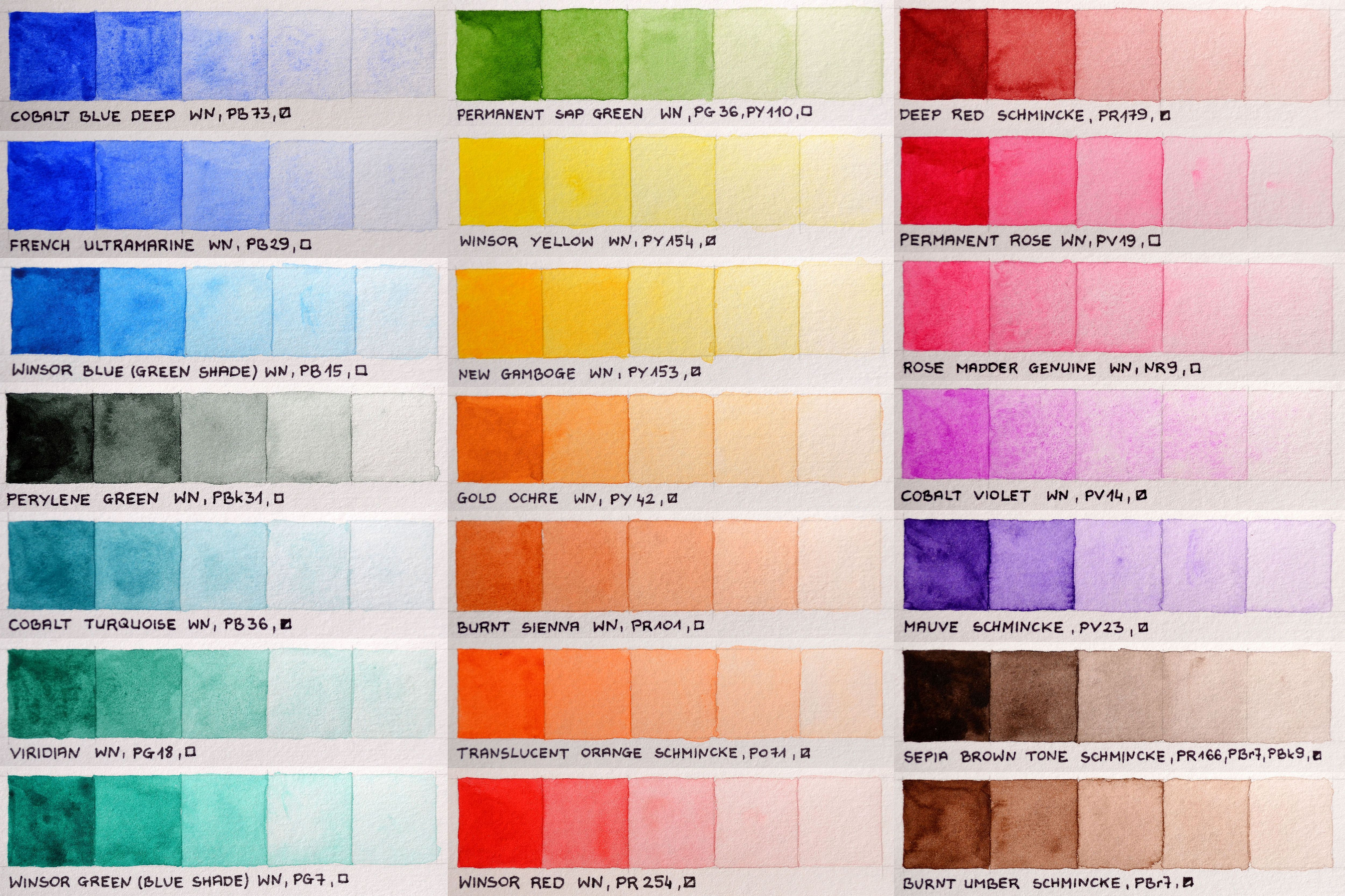 My color chart of winsornewton professional and schmincke horadam my color chart of winsornewton professional and schmincke horadam watercolors not every colors i nvjuhfo Image collections