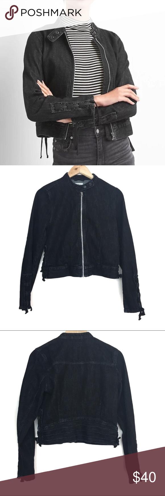 Gap Black Lace Up Moto Denim Jacket Fashion Clothes Design Fashion Design