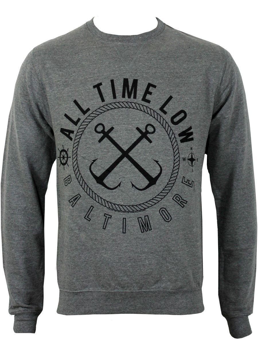 All Time Low Sea Sick Mens Grey ATL Jumper New Official