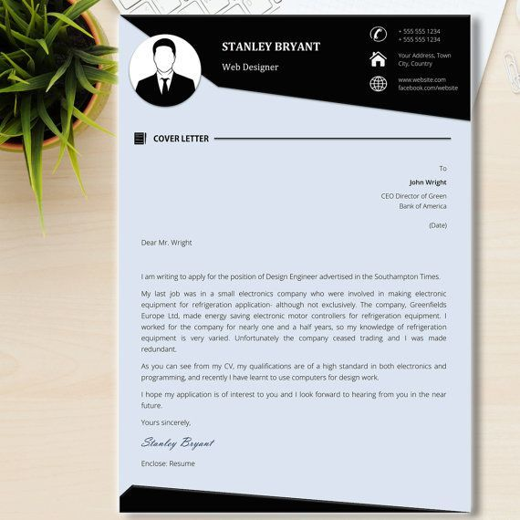 creative cover letter Black and White Resume Template + Cover