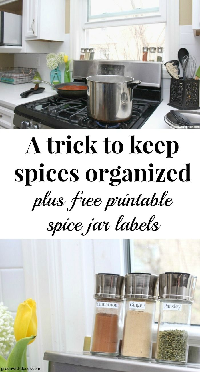 A Trick To Keep Spices Organized + Free Spice Jar Labels. Spice Jar  LabelsSpice JarsSpice OrganizationOrganizing IdeasWhite Kitchen ...