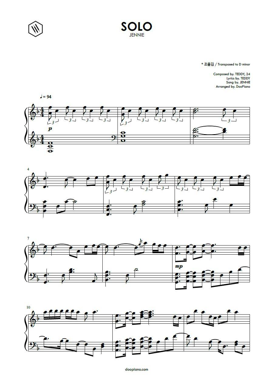 Jennie Solo Piano Notes Songs Violin Sheet Music Piano Music