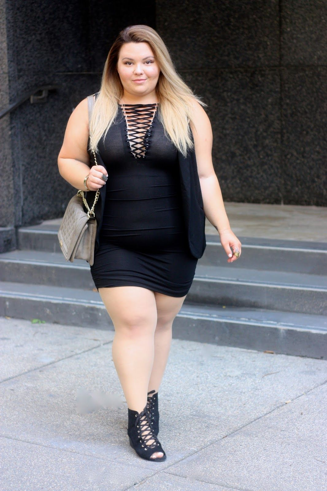 8382354abee Plus size lace up dress on Natalie in the City!