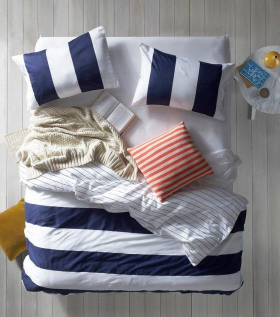 Nautical Bed sheets, blue, white, coral, tan. I have a ...