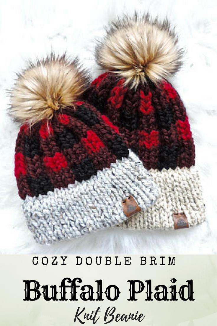 9cfb7c6b2 Buffalo plaid cozy knit beanie hat accented with a faux fur pom pom ...
