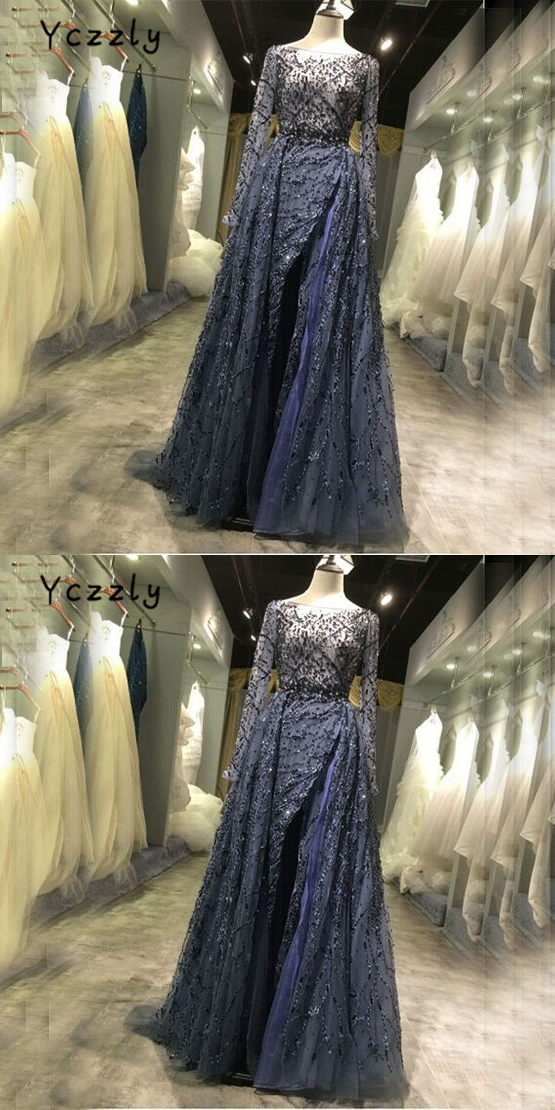 Real luxury dubai embroidery beading crystal evening dresses
