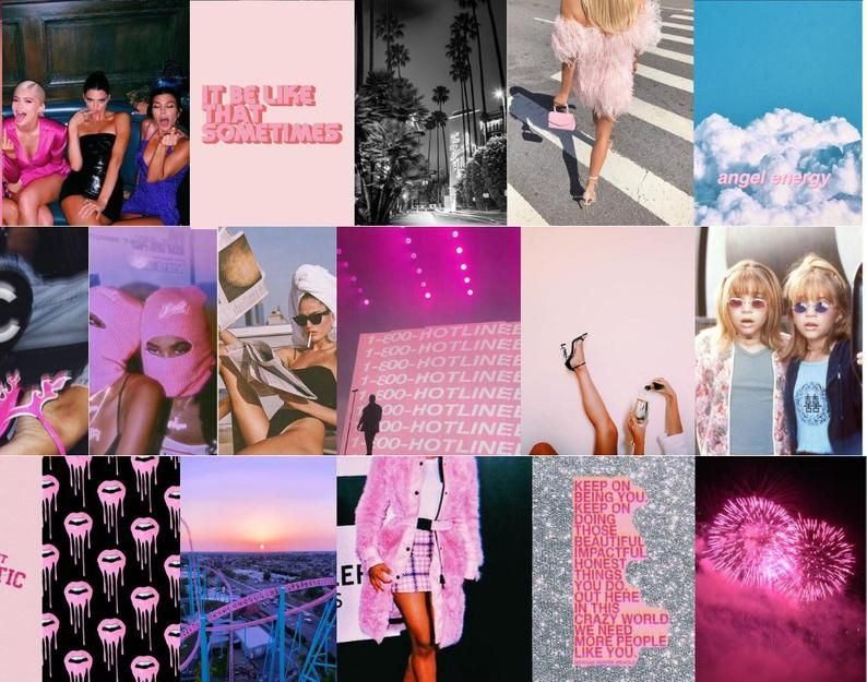 30 Pink Boujee Aesthetic Wall Collage Kit