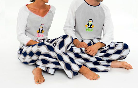 His and Hers Matching Pajama Sets - Couples Mens Womens Coordinating  Sleepwear Loungewear - Penguin Embroidery Design Blue Gray White Gift 65952a0e7