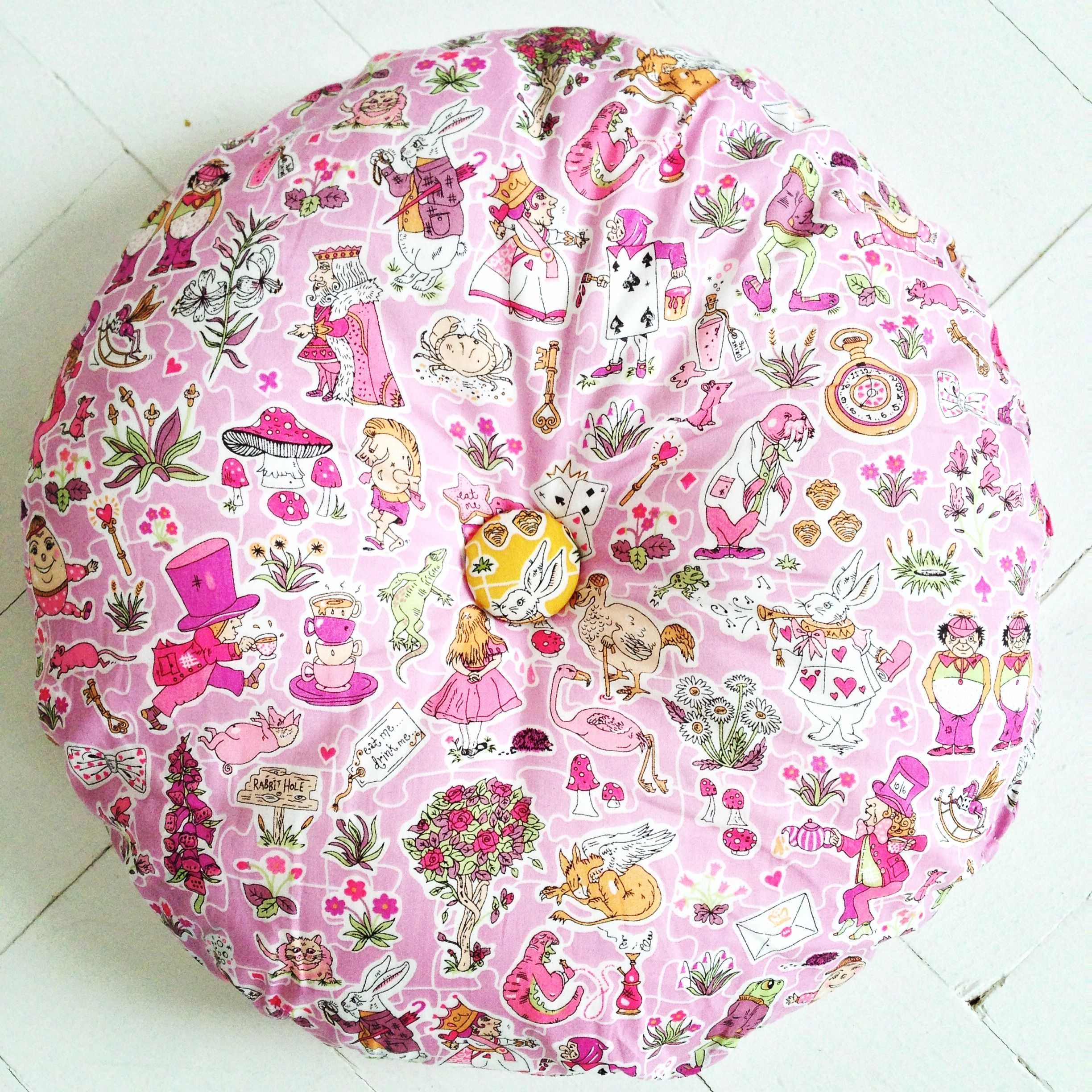 I just adore this Liberty print fabric: Alice on wonderland! My daughter requested a round cushion: just love it! https://www.facebook.com/willaandbobbin?ref=hl