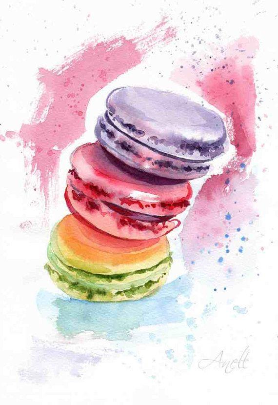 Cute Macaron Wallpaper Macaroons Watercolor Print Watercolor Painting Wall